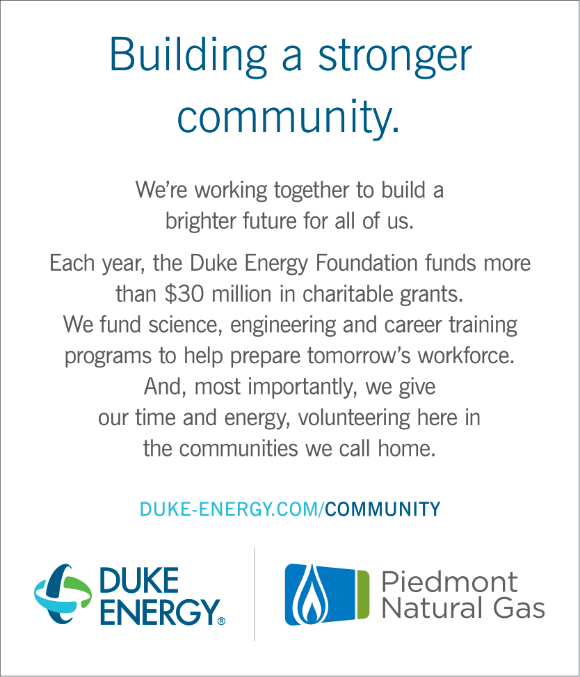 Each year, the Duke Energy Foundation funds more than $30 million in charitable grants. We fund science, engineering and career training programs to help prepare tomorrow's workforce.