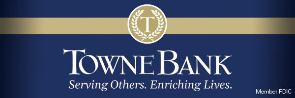Towne Bank blue and gold ad Serving Others Enriching Lives