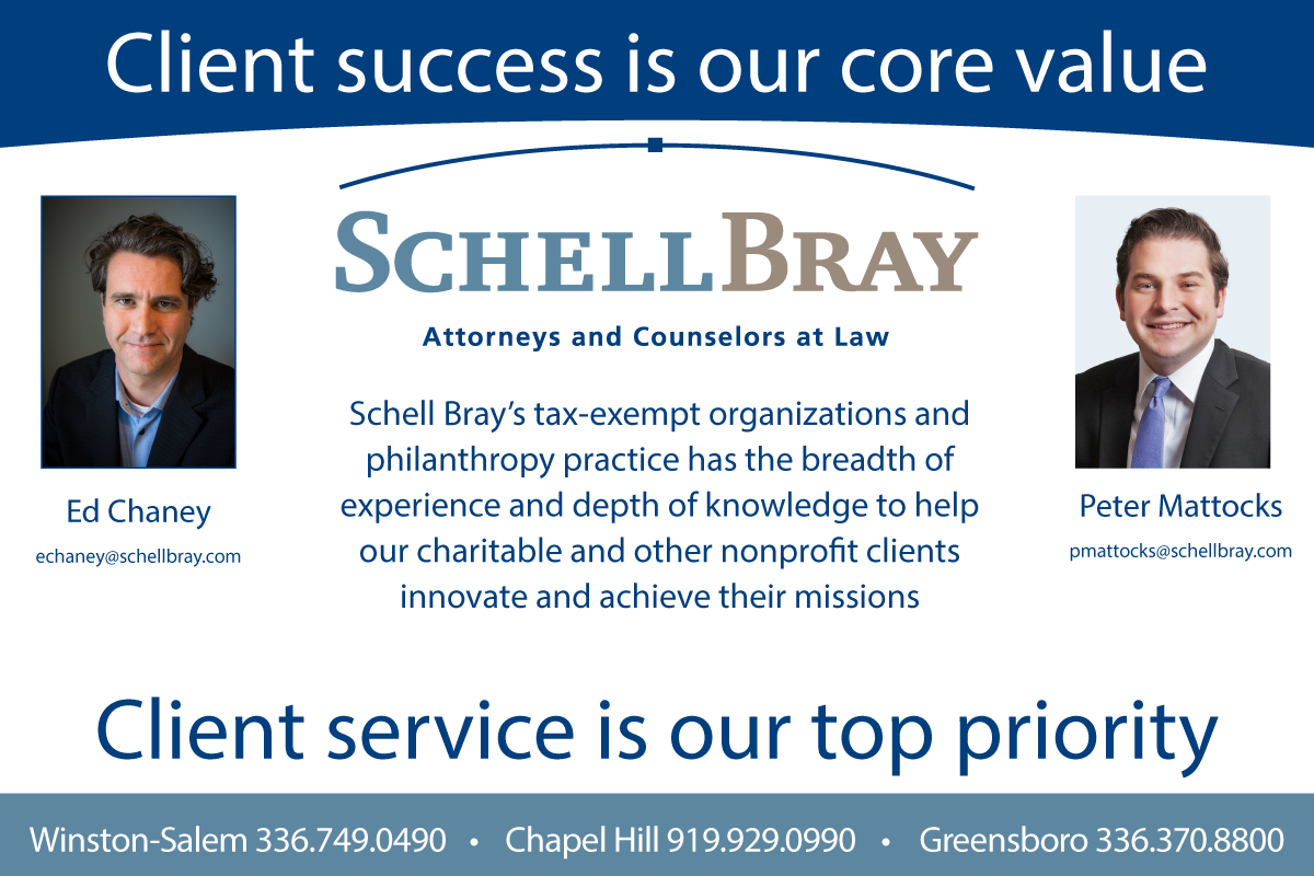Schell Bray attorneys at law ad for exempt organizations with three North Carolina law firm offices