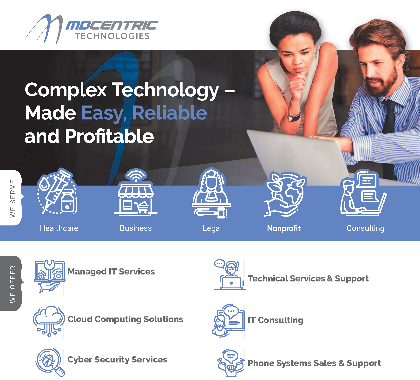 MD centric Technologies Services Summary Graphic